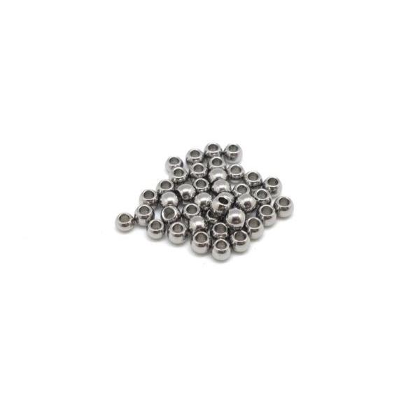 50 Petites Perles Ronde En Acier Inoxydable Argenté 2,5mm - Photo n°3