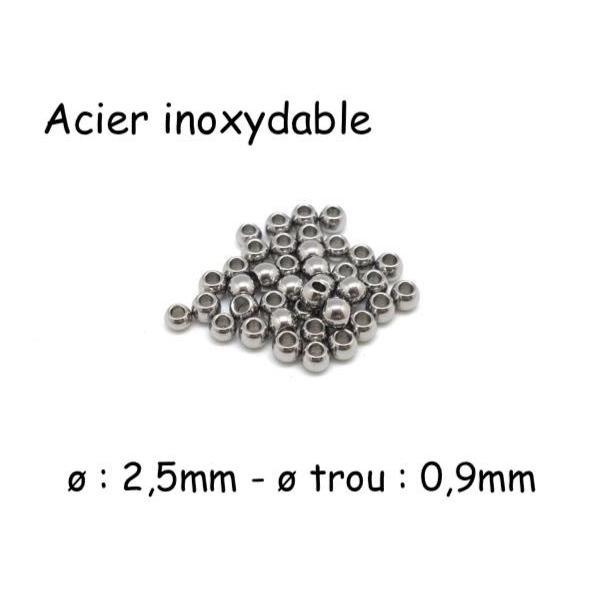 50 Petites Perles Ronde En Acier Inoxydable Argenté 2,5mm - Photo n°1