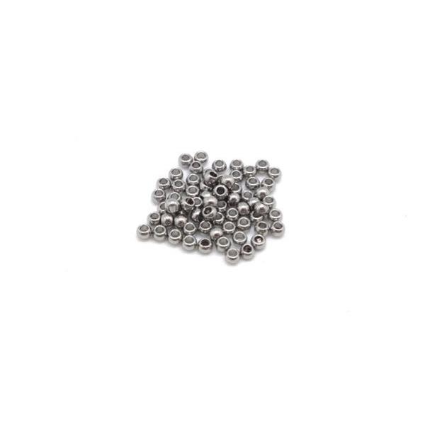 50 Mini Perles Ronde En Acier Inoxydable Argenté 1,5mm - Photo n°3