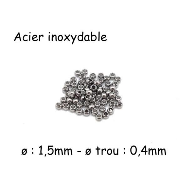 50 Mini Perles Ronde En Acier Inoxydable Argenté 1,5mm - Photo n°1