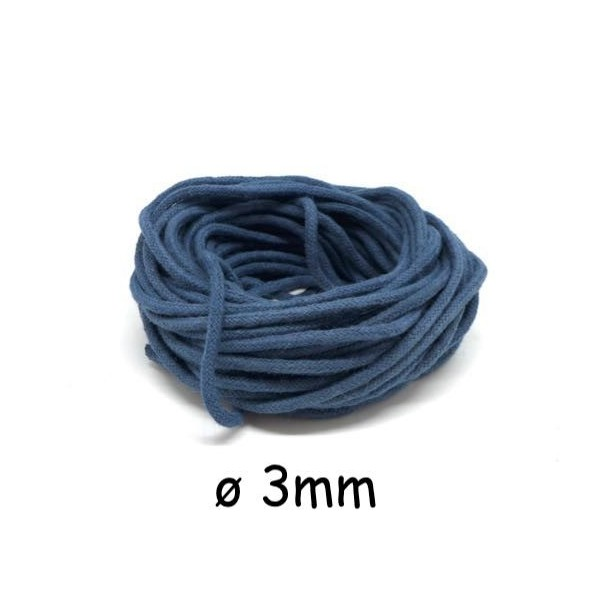 20m Cordon Coton 3mm Bleu Jeans Délavé Pour Macramé, Tissage, Home Déco - Photo n°1