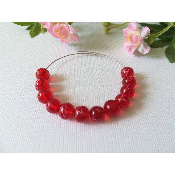 Perles en verre 8 mm rouge tréfilé rose x 20 - Photo n°2