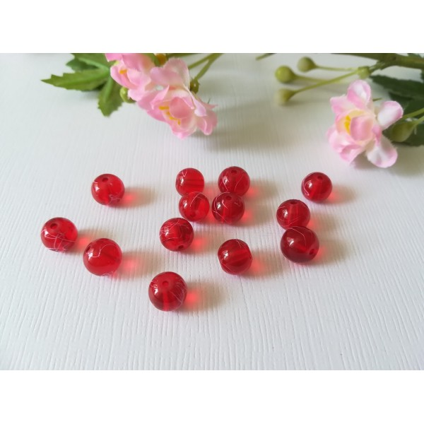 Perles en verre 8 mm rouge tréfilé rose x 20 - Photo n°1