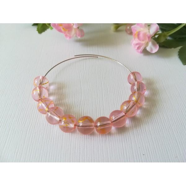 Perles en verre 8 mm orange et rose x 20 - Photo n°2