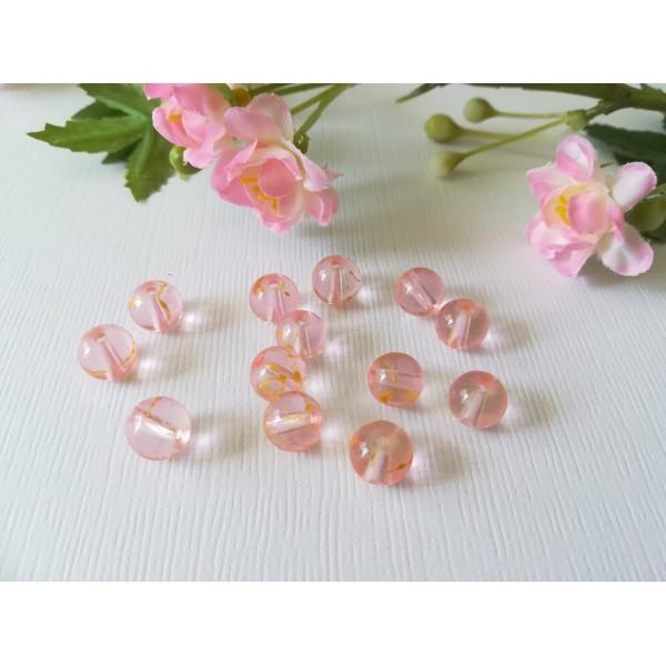 Perles en verre 8 mm orange et rose x 20 - Photo n°1