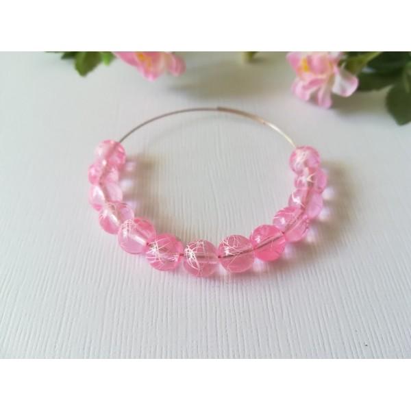 Perles en verre 8 mm rose tréfilé blanc x 20 - Photo n°2