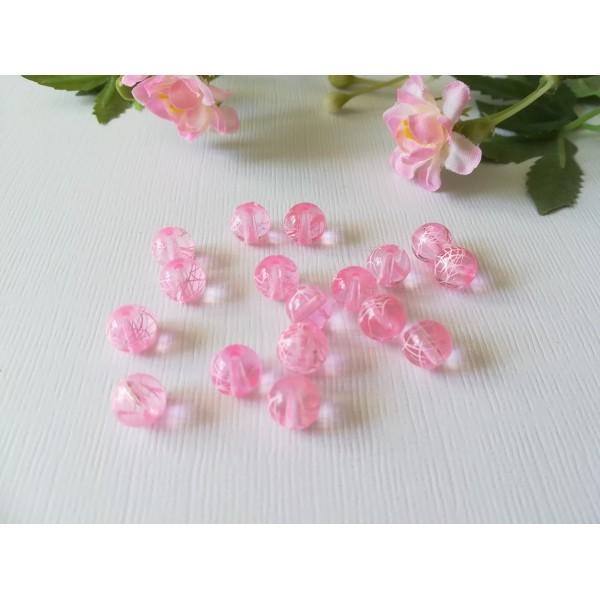 Perles en verre 8 mm rose tréfilé blanc x 20 - Photo n°1