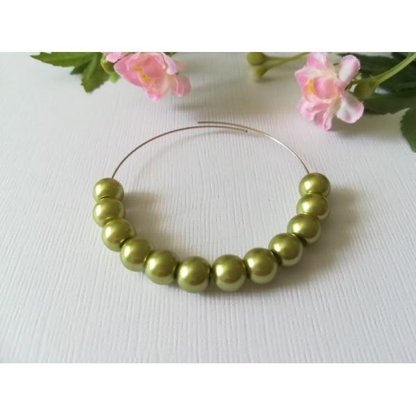 Perles en verre nacré 8 mm vert anis x 20 - Photo n°2