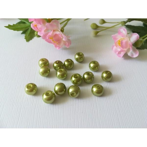 Perles en verre nacré 8 mm vert anis x 20 - Photo n°1
