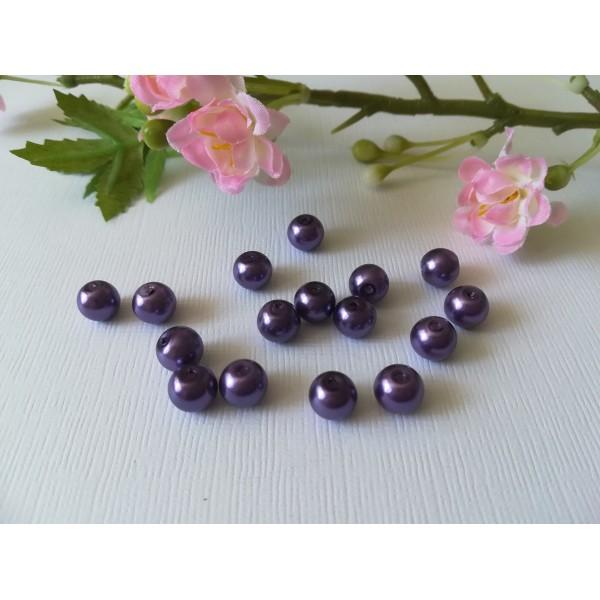 Perles en verre nacré 8 mm violet x 20 - Photo n°1