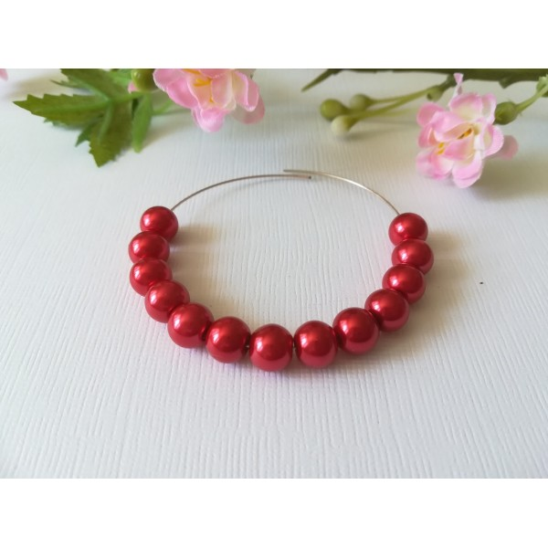 Perles en verre nacré 8 mm rouge x 20 - Photo n°2