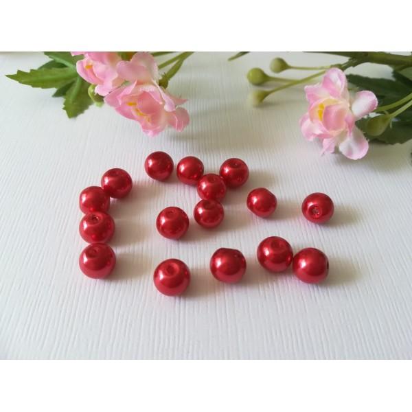 Perles en verre nacré 8 mm rouge x 20 - Photo n°1