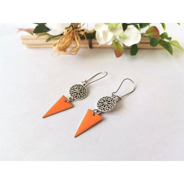 Kit boucles d'oreilles connecteur rond et sequin émail orange - Photo n°2