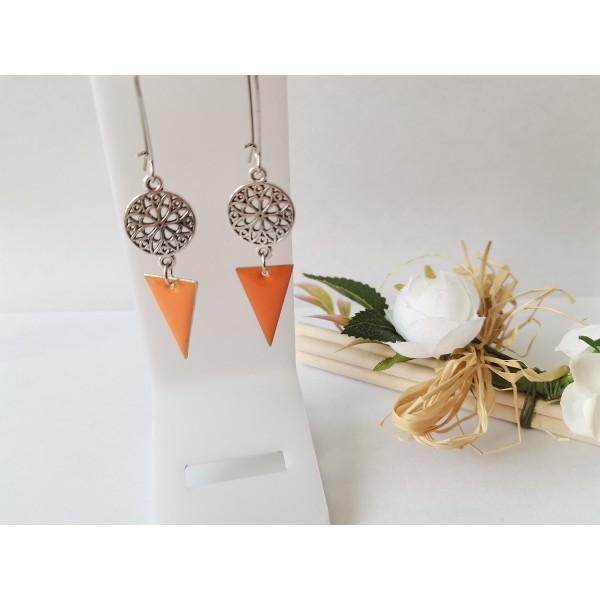 Kit boucles d'oreilles connecteur rond et sequin émail orange - Photo n°1