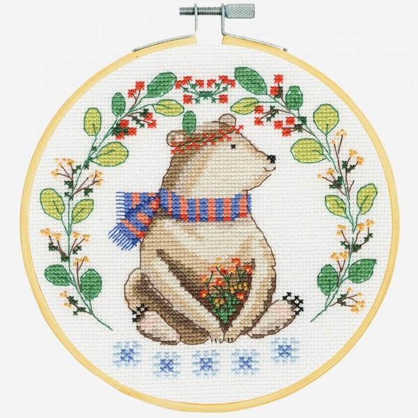 Kit broderie point de croix + tambour - Ourson - Ø 18 cm - Photo n°2