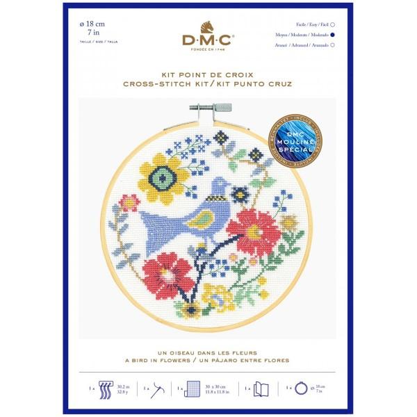 Kit broderie point de croix + tambour - Oiseau & fleurs - Ø 18 cm - Photo n°1