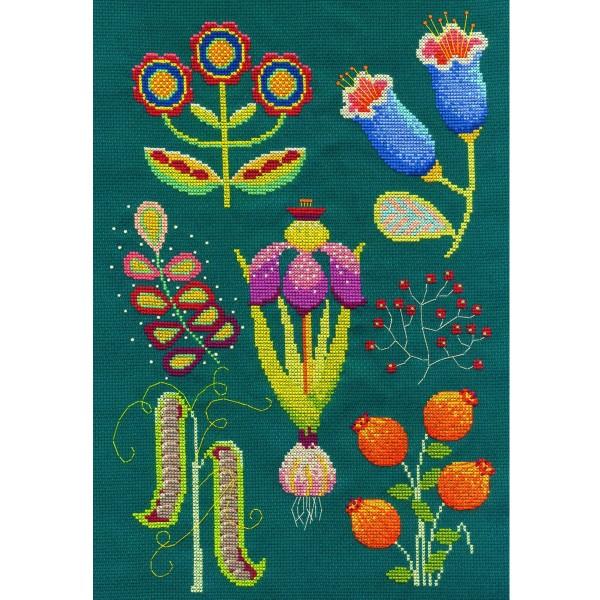 Kit broderie point de croix - Jardin botanique - 23 x 33 cm - Photo n°3