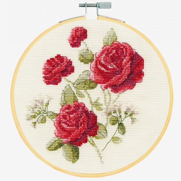 Kit broderie point de croix + tambour - Roses - Ø 18 cm - Photo n°2