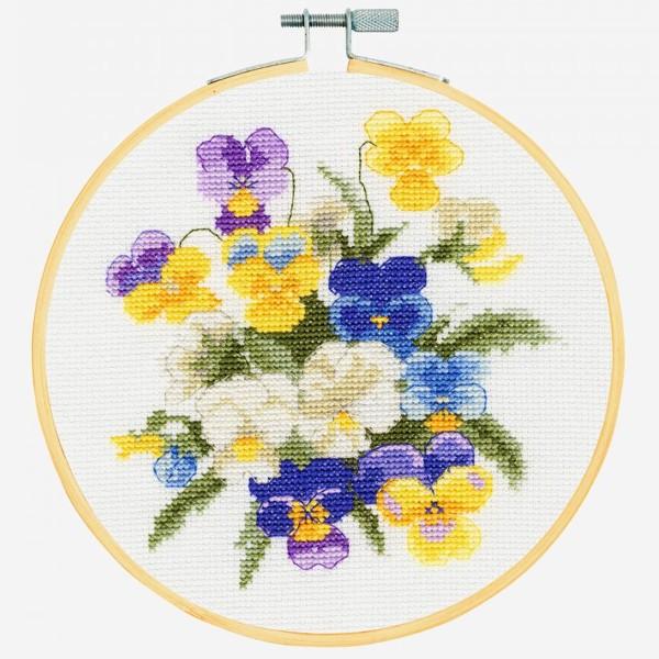 Kit broderie point de croix + tambour - Violettes - Ø 18 cm - Photo n°2