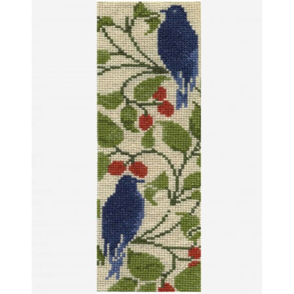 Kit broderie Marque-Page - Baies rouges & Oiseaux - 19,5 x 6 cm - Photo n°2