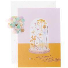Kit DIY carte à personnaliser - Cloche en verre et fleurs séchées