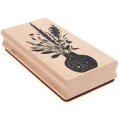 Tampon bois - Bouquet de Fleurs Sauvages - 6 x 12 cm
