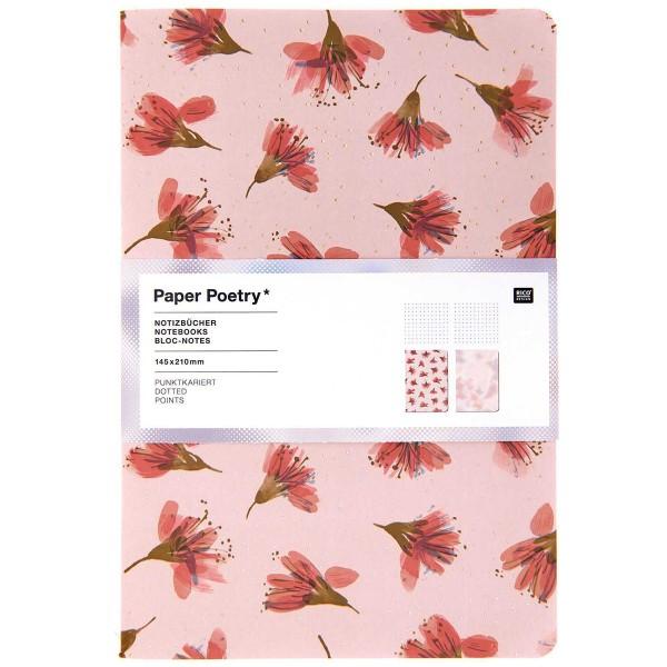 Lot de carnets de note A5 - Fleurs de cerisier - 14,5 x 21 cm - 2 pcs - Photo n°1