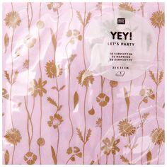 Serviettes en papier - Motif floral Rose et Doré - 33 x 33 cm - 20 pcs
