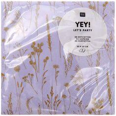 Serviettes en papier - Motif floral Lilas et Doré - 33 x 33 cm - 20 pcs