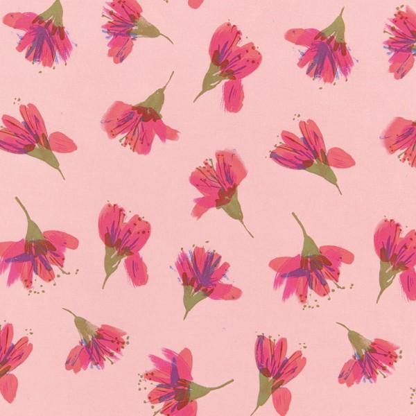 Tissu Toile de coton Transformation Rico Design - Fleurs de cerisier - Vendu par 10 cm - Photo n°1