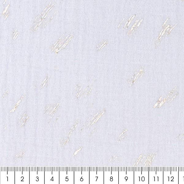 Tissu Gaze de coton Transformation Rico Design - Gris Bleuté détails dorés - Vendu par 10 cm - Photo n°3