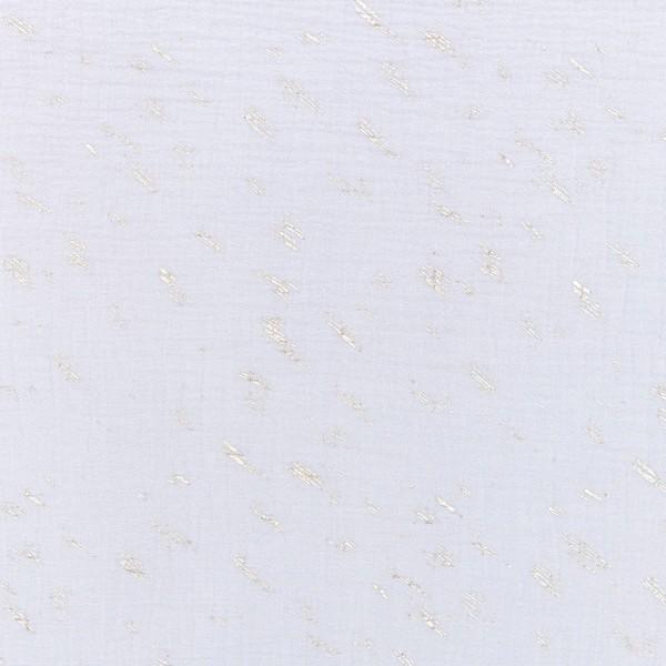 Tissu Gaze de coton Transformation Rico Design - Gris Bleuté détails dorés - Vendu par 10 cm - Photo n°1