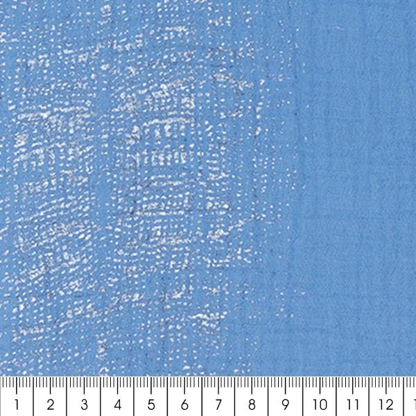 Tissu Gaze de coton Transformation Rico Design - Bleu Azur détails dorés - Vendu par 10 cm - Photo n°3