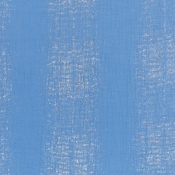 Tissu Gaze de coton Transformation Rico Design - Bleu Azur détails dorés - Vendu par 10 cm - Photo n°1