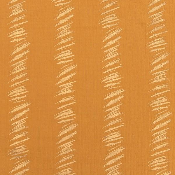 Tissu Gaze de coton Transformation Rico Design - Moutarde détails dorés - Vendu par 10 cm - Photo n°1