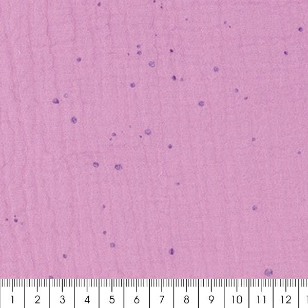 Tissu Gaze de coton Transformation Rico Design - Mauve à pois hot foil - Vendu par 10 cm - Photo n°3