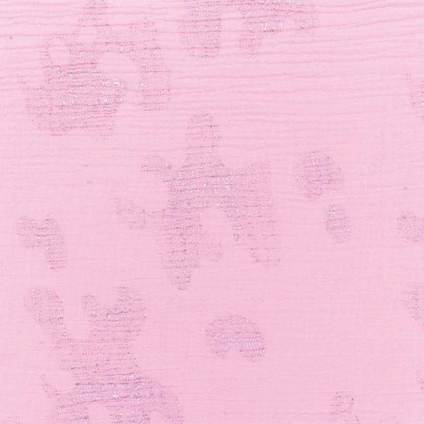 Tissu Gaze de coton Transformation Rico Design - Rose détails hot foil - Vendu par 10 cm - Photo n°1