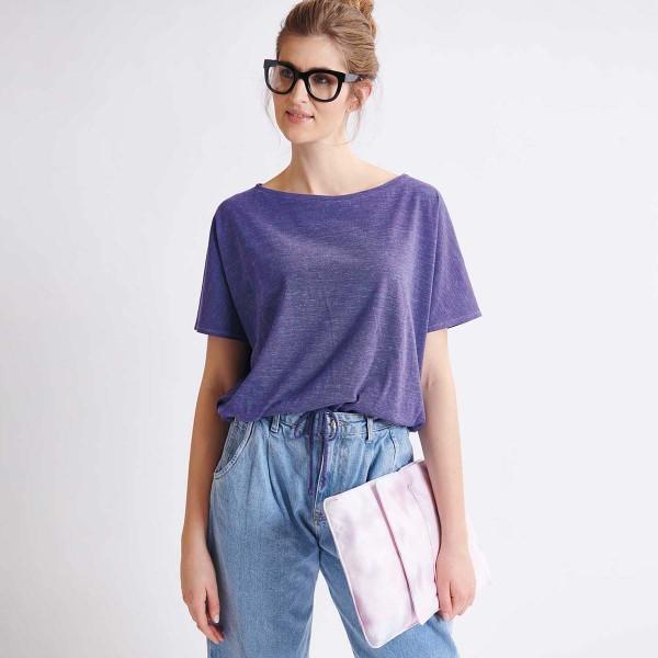 Tissu Jersey Transformation Rico Design - Violet chiné - Vendu par 10 cm - Photo n°3