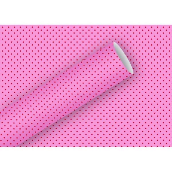 Lot de 3 rouleaux Papier cadeau Petits pois rouges sur fond rose, 70cm x 200cm, longueur totale 6m, - Photo n°1