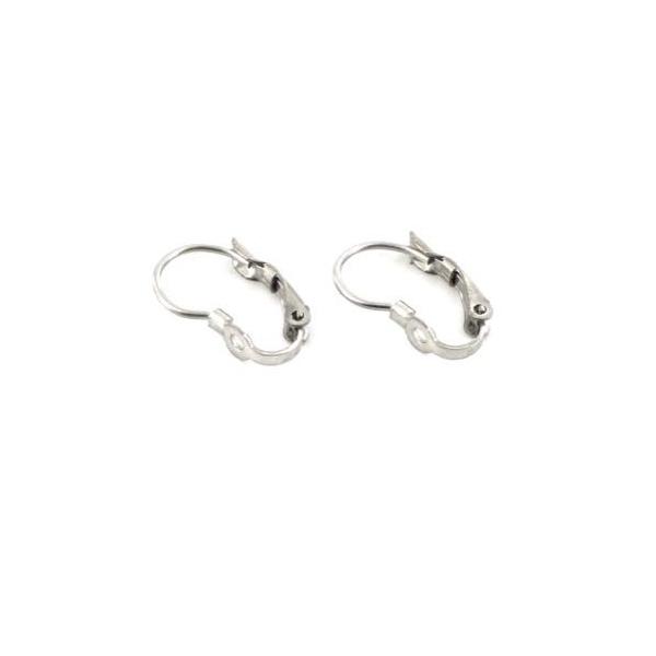 6 Supports Boucles D'oreilles Dormeuses Trouées En Acier Inoxydable Argenté 16mm X 9mm - 3 Paires - Photo n°3