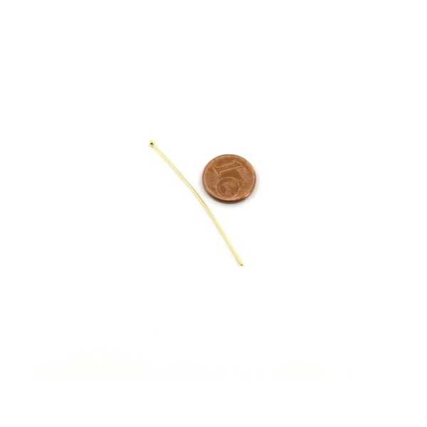 10 Tiges Métalliques Clous À Bille 5cm En Métal Doré Acier Inoxydable - Photo n°2
