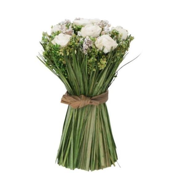 Mini bouquet fleurs séchées et roses blanches D. 8 cm - Photo n°1
