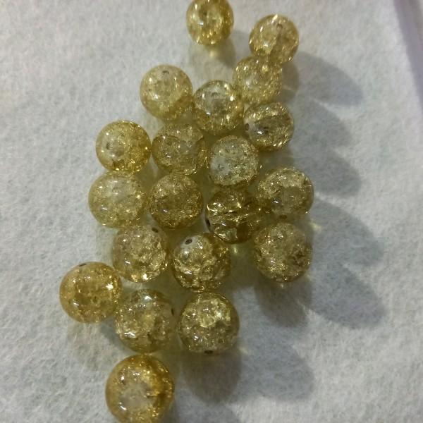 Vingt perles bicolore verre, 1cm - Photo n°1