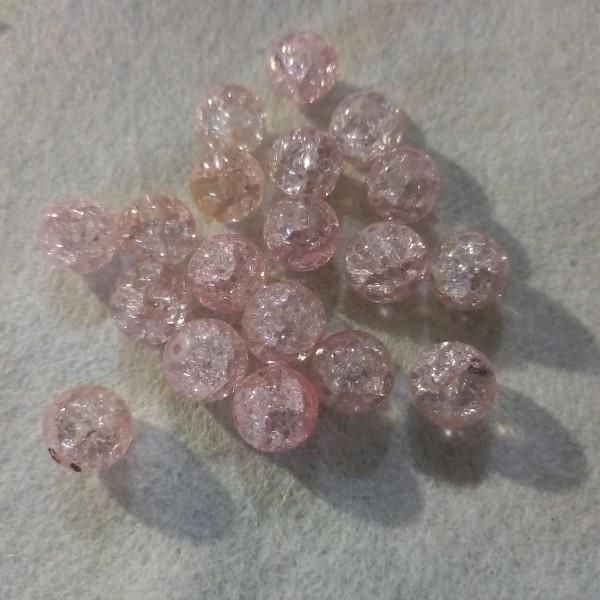 Vingt perles bicolore rose pâle verre, 1cm - Photo n°1