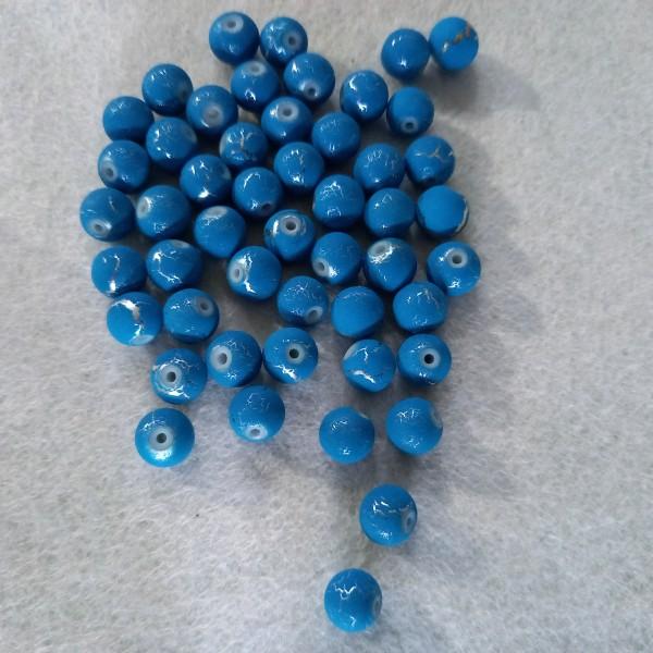 Cinquante perles bleu craquelé en résine, 7mm - Photo n°1