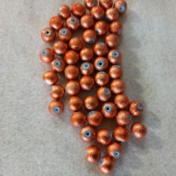 Cinquante perles abricot craquelé en résine, 7mm - Photo n°1