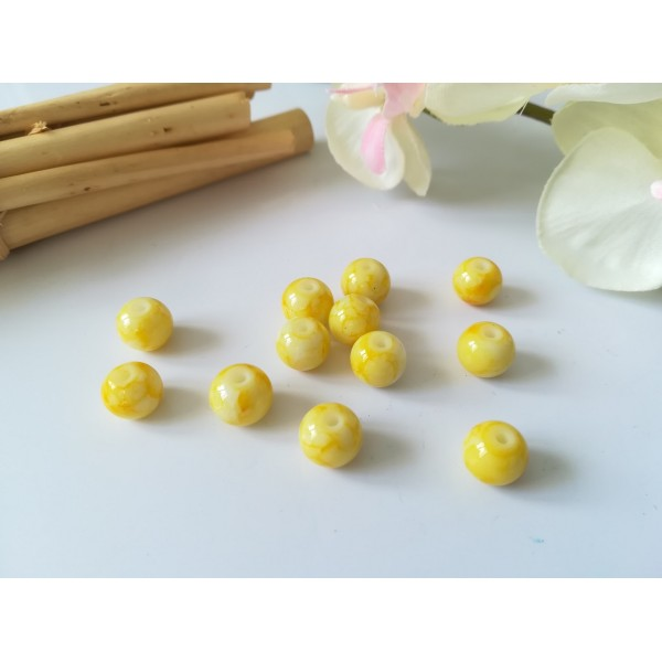 Perles en verre taches blanches 8 mm jaune x 20 - Photo n°1