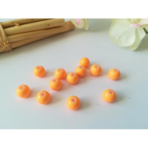 Perles en verre ronde 8 mm orange x 20 - Photo n°1
