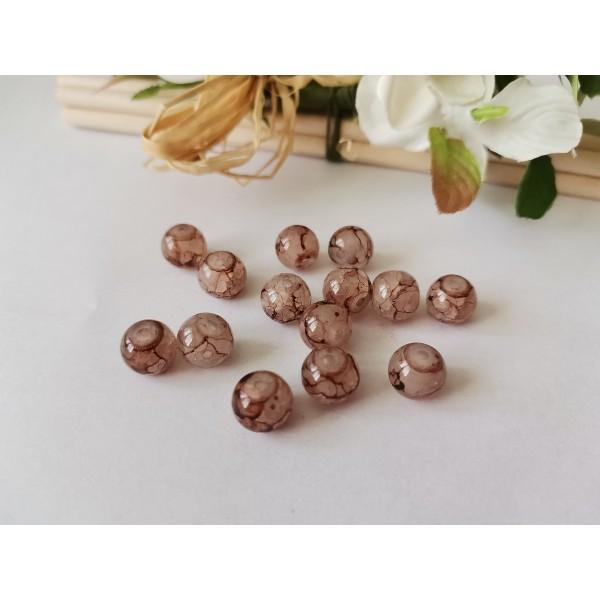 Perles en verre peint craquelé 8 mm marron tréfilé x 20 - Photo n°1
