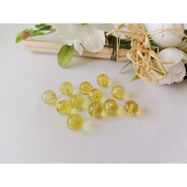 Perles en verre 8 mm jaune tréfilé blanc x 20 - Photo n°1